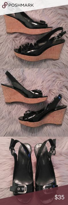 Franco Sarto Black Patent Peep Toe Sling Wedge Franco Sarto Black Patent Peep Toe Sling Wedge Size 9.5 in good condition with a little wear. Lots of life left in these. Cute meets comfortable with the adjustable back sling. Franco Sarto Shoes Wedges
