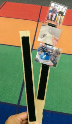 I used paint stir sticks and velcro to create small schedules for children that need more visuals of upcoming transitions. Idea and photo taken by me Ray Chavez