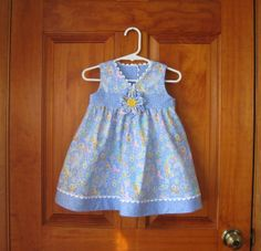 Baby, toddler, girl dress/top and shorts with colorful butterflies on blue, matching fabric flower, Size M/12Mo., Ready to ship via Etsy