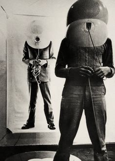 The Portable Living Room: A TV Helmet by Walter Pichler, 1967; The Small Room is featured in the photograph, which is Prototype 4