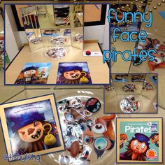 Funny face pirates using laminated stickers and a cut up book.