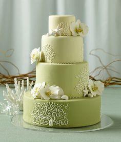 Beach Green wedding cake with seashells and starfish - Beach - Cakes Photos Orchid Wedding Cake, Elegant Wedding Cakes, Orchid Cake, Moth Orchid, Gorgeous Cakes, Pretty Cakes, Green Cake, Beach Cakes, Themed Wedding Cakes