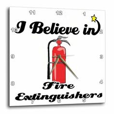 3dRose I Believe In Fire Extinguishers, Wall Clock, 15 by 15-inch