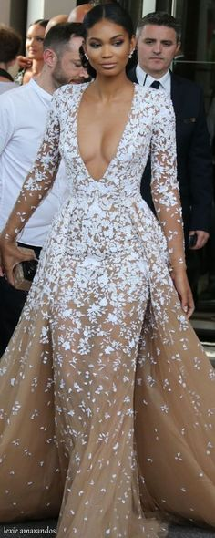 Chanel White and nude floral dress