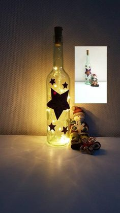 Christmas light bottle with stars in violet and snowflakes, decoration bottle with lighting, bottle Coloured Fairy Lights, Light Chain, Bottle Lights, String Lights, Christmas Lights, Lava Lamp, Snowflakes, Hand Painted, Lighting