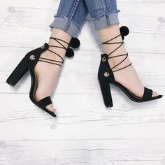 High Heel Pumps, Pumps Heels, Stiletto Heels, Spring Shoes, Summer Shoes, Prom Shoes, Lace Up Heels, Womens High Heels, Chunky Heels