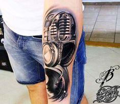 Microphone tattoo by Bejt Tattoo