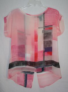 White House Black Market Pink Multi Hi Low Blouse Small Cap Sleeve Women's Fashion