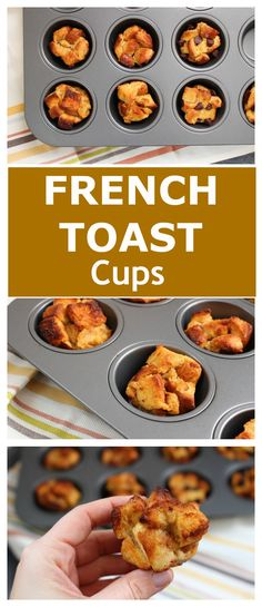 Baked French Toast Cups are a portable, kid-friendly breakfast that are lower in added sugar and higher in homemade flavor as compared to many store bought French toast varieties! @MomNutrition