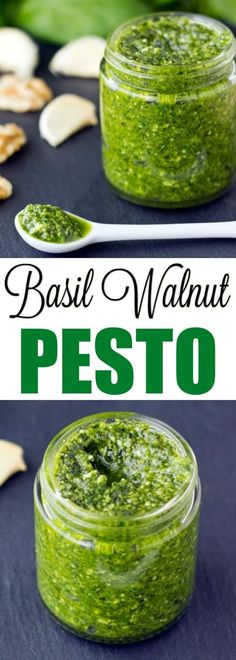 Basil Walnut Pesto comes together in about 15 minutes with just 6 ingredients. Great for pasta, sandwich spreads, and soup garnishing! Paleo Pesto, Basil Pesto Recipes, Pesto Sauce, Pesto Pasta, Pesto With Walnuts Recipes, Freezing Pesto, Basil Walnut Pesto, Cooking Recipes, Healthy Recipes