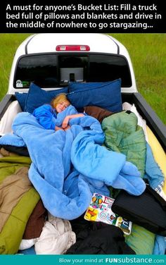And this is exactly what my mom & dad did when I was a little girl and with my brother we drove behind the windbreak and slept outside! So fun!!!