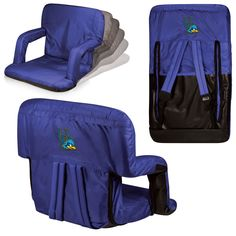 The Delaware Blue Hens Ventura Stadium Seat is very portable allowing you to recline in comfort just about anywhere! The Ventura features adjustable backpack style straps and padded armrests. It comes