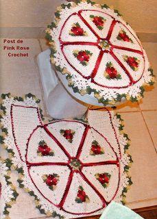 \ PINK ROSE CROCHET /: Tapete Barbante e Flores