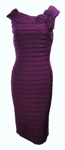 Adrianna Papell Women's Rosette Shutter Sheath Dress 10 Mulberry [Apparel] « Clothing Impulse