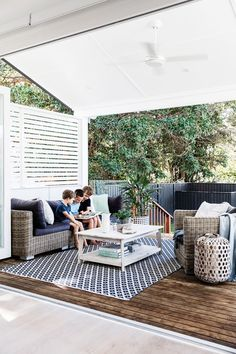 """It's turned out to be the perfect family home,"""" says Anna. """"Having multiple living spaces is fantastic – it gives us separation but we can still supervise the boys."""" Sofa and armchair, [Outdoor Furniture Online](http://www.outdoorfurnitureonline.com.au/?utm_campaign=supplier/