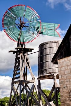 A colorful Texas Hill Country windmill north of San Antonio.
