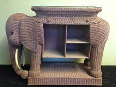 Rare and Fabulous Oversized Vintage Wicker Elephant by LaDolfina
