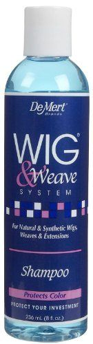 DeMert Wig & Weave System Shampoo for Natural and Synthetic Hair 8 oz by Wig & Weave. $5.39. Will not strip color; Deoderizing; Can be used on Natural and Synthetic hair; Cleans and Conditions at the same time; Great for Wigs, Hair Extensions, Hair Pieces, Braids and Weaves!. For natural and synthetic hair. Cleans, conditions and restores human or synthetic hair wigs without stripping color. Removes oils and dullings film for a soft, healthy, and natural appearance.