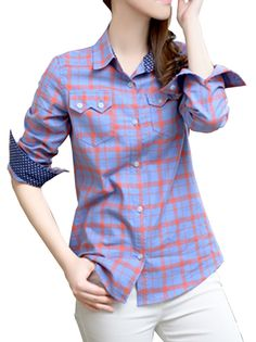 Boutique Plaid Pattern Turn-Down Collar Slim Leisure Lady's Blouse on buytrends.com