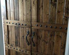 Interior Double Barn Door Package - Double Doors - Sliding Wooden Door - Barn Door Hardware - Farmhouse Style Barn Door - Barn Door Package