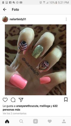#unasdecoradas Funky Nails, Love Nails, Trendy Nails, Mc Nails, Hair And Nails, Indian Nails, Funky Nail Designs, Nail Manicure, Manicure Ideas