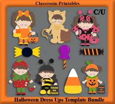 Clipart Templates for Scrapbooking.    Halloween Dress Up Kids Clipart Template Bundle. For Digital Scrapbooking, Clipart, Creating Cards & Printables.    Comes PSD Format  For Use in Photoshop and Graphics Programs