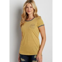 maurices Ringer Tee With Gypsy Soul Graphic, Women's, ($26) ❤ liked on Polyvore featuring tops, t-shirts, brown tee, maurices, graphic design tees, graphic design t shirts and graphic print t shirts