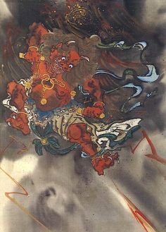 Kawanabe Kyosai - Raijin, God of Thunders Kawanabe, Art Tattoo, Japanese Drawings, Creature Art, Japanese Woodblock Printing, Japanese Tattoo Art, Art, Ukiyoe, Traditional Japanese Art