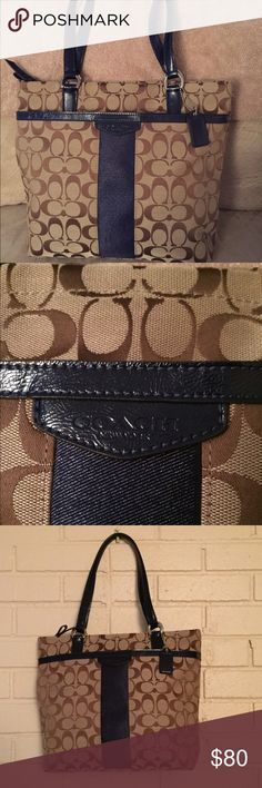 Coach Signature Stripe Tote - Khaki/Navy Coach khaki/navy signature stripe tote/shoulder bag with front open slip pocket. Interior includes zipper pocket, pen slot, and two open slip pockets. Zippered top closure. Gently used - excellent condition! No marks! Coach Bags Totes