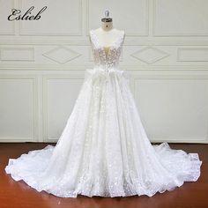 fbaa5ff048 Eslieb Vestidos de Noiva-Line Luksusowa suknia ślubna 2018 Długie rękawy Suknie  ślubne Frezowanie Aplikacje
