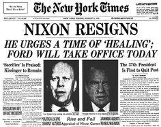 Portada dedicada a la dimisión de Nixon en The New York Times