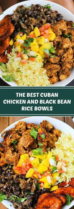 The Best Cuban Chicken & Black Bean Rice Bowls - deliciousrecipes. Cuban Recipes, Rice Recipes, Chicken Recipes, Dinner Recipes, Cuban Chicken, Black Bean Chicken, Chicken Chorizo, Black Beans And Rice, Cuban Rice And Beans