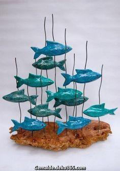 Sculptures Céramiques, Fish Sculpture, Driftwood Sculpture, Ceramic Clay, Ceramic Pottery, Clay Fish, Driftwood Crafts, Fish Art, Clay Crafts