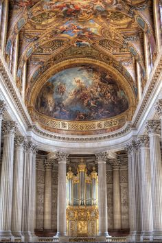 The Royal Chapel of King Louis XIV. Enormous is scope, the entire complex is one of the most impressive I have ever seen. Multiple palaces (for the mistresses of the King mainly) and grounds complete with their own Venetian style canals and an Orangerie. The Sun King was perhaps nearly revered as a god among men, and requisite with this theme is a lack of Christian symbology anywhere in the multiple palaces, with the notable exception of the Royal Chapel.