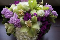 purple and green arrangment, lovely.