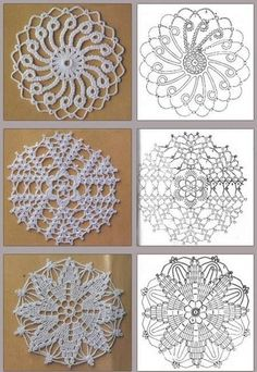 Preciosa colección de motivos circulares tejidos con ganchillo, para reutilizar los sobrantes de lana y hacer lindos almohadones, mantas y Crochet Doily Patterns, Crochet Diagram, Crochet Chart, Crochet Squares, Thread Crochet, Crochet Doilies, Crochet Flowers, Crochet Lace, Crochet Stitches