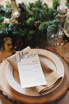Evergreen Runner and Pine Cones for a Chic Winter Wedding | Kristina Staal Photography on @classicbride