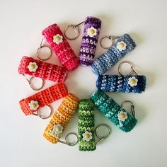 Free Crochet Chapstick / Lip Balm Holder Keychain Pattern - one for you to make @Tessa McDaniel McDaniel McDaniel James