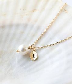 Swarovski Pearl Necklace, Initial Necklace, Bridesmaid Gifts,Wedding Jewelry, Personalized Necklace, Made of Honor, Gift Idea on Etsy, $13.00