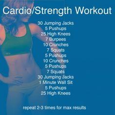 Cardio/Strength Workout ~ Pinterest