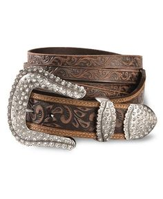 Looking for a new belt. I like how this one is plain with a bling buckle. Cowgirl Belts, Cowgirl Bling, Western Belts, Cowgirl Style, Western Jewelry, Leather Buckle, Leather Belts, Leather Tooling, Tooled Leather