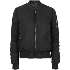 TOPSHOP True MA1 Padded Bomber Jacket (€94) ❤ liked on Polyvore featuring outerwear, jackets, black, blouson jacket, padded bomber jacket, padded jacket, flight jacket und zipper jacket