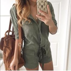 NWT Olive Green Fall Cargo Jumpsuit Romper This is a reposh that unfortunately didn't fit me. Trying to get $$ back :) the seller has sold all size smalls. Fitted cargo romper.  Listed under NG for visibility  never worn. NWT Nasty Gal Pants Jumpsuits & Rompers