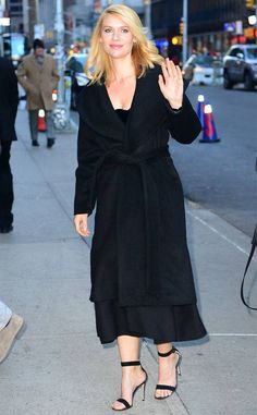 Claire Danes from The Big Picture: Today's Hot Photos Simply stunning! The star looks great in an all black ensemble while arriving to The Late Show with Stephen Colbert in NYC. Helen Mirren, Reese Witherspoon, Paris Hilton, Rachel Zoe, Carrie Mathison, Miss Independent, Claire Danes, Bella Hadid, Big Picture