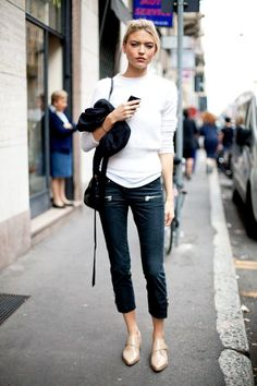 Model-Off-Duty Style: How to Transition Your Cropped Pants to Fall via @WhoWhatWear