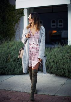 I am currently loving the idea of bare legs, boots and cozy knits. We are having some random...