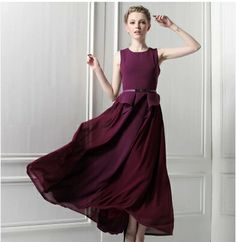 2014 New summer Goddess Athena purple elegant atmosphere falbala splicing chiffon long dress With the belt high quality $63.38