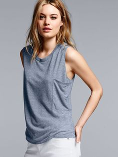 An ultra-cool shape with a supersoft feel. Now that's a winning combo. | Victoria's Secret Muscle Tee