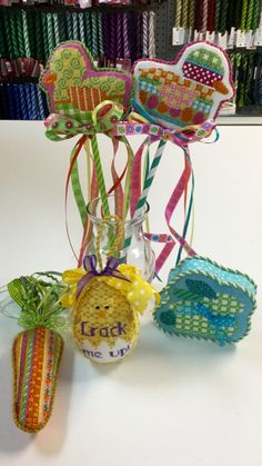 Sally stitched these AT and Kathy Schenkel  Easter pieces.