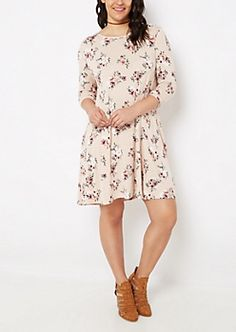 68af48c46 Plus Rosy Lattice Back Swing Dress | rue21 Junior Dresses, Plus Size  Dresses, Rue